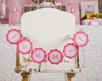 Tea Party Birthday Party Decorations - I am 1 MINI BANNER - Hot & Light Pink Tea Party Happy Birthday Party Sign