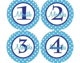 Baby Month Stickers Baby Boy Monthly Milestone Stickers Navy Blue Light Blue Polka dot 12 Month Stickers Baby Shower Gift Aaron-T
