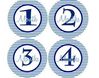 Baby Month Stickers Baby Boy Monthly Milestone Stickers Navy Blue Light Blue First Year Month Stickers - Ade-T