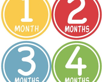Baby Month Stickers Baby Boy Monthly Growth Stickers Blue Green Red Yellow First Year Month Stickers Baby Shower Gift and Photo Prop - Jake