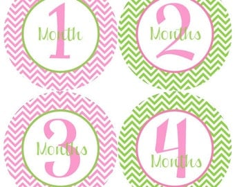 Baby Month Stickers Baby Girl Monthly Stickers Hot Pink Green Girl Stickers Month Stickers Baby Shower Gift Photo Prop - Annika
