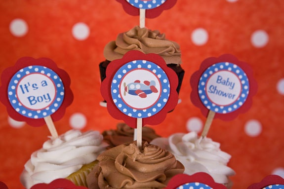 Airplane cupcake toppers airplane baby shower decorations in for Airplane baby shower decoration ideas