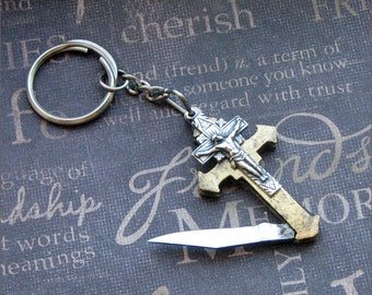 Vintage Pocket Knife Cross Keychain - Enchanted Faith - Jewelry by TheEnchantedLocket -VINTAGE Father's Day Birthday Groom Wedding Gift
