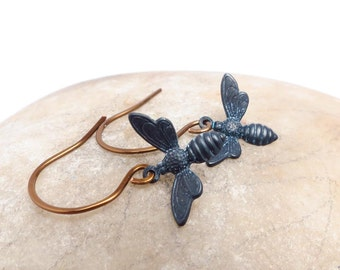 Honey Bee Jewelry Black Patina Earrings