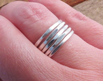 Minimalist Jewelry, Stack Rings, Silver Rings, Sterling Silver Ring, Metalwork Jewelry
