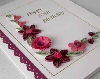Quilled personalised 18th, 21st, 30th, 40th, 50th, 60th, 70th, 80th, 90th, 100th birthday card, handmade