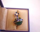 Vintage Jewelry Signed Crown Trifari Royal Orb Coronation 1953 Enamel Brooch