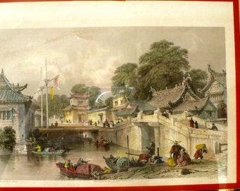 Antique Engraving Hand Colored Ancient Bridge Chapu China Framed and matted