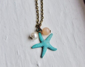 Turquoise Starfish Necklace. Beach Necklace. Nautical. Bridal Jewelry. Bridesmaid. Pearl Necklace. Peach. Mint Green. Charm Necklace