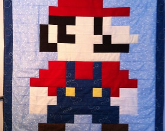 Lil Geek MARIO Crib Quilt, Modern Colors