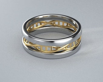 Sterling silver and 14k yellow gold DNA ring.