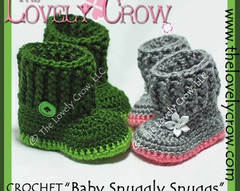 Baby Slippers Crochet Pattern BABY SNUGGLY SNUGGS digital