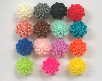 Closeout - 6 Resin CABOCHONS Dahlia Resin Flower Cabochons 16mm -- 15 colorful Resin flower cabochons Choose your color