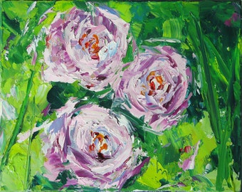 """Peonies Three, 8"""" x 10"""" oil painting. Yvonne Wagner. Peony. Abstract peonies. Fleurs. Unframed. Free shipping to USA. Sale. Special Pricing."""
