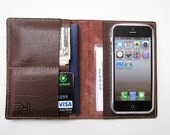SALE 20 % OFF. WIYP8. iPhone 5 / Passport / Card Case / Wallet. Premium Selection, Vintage, Mahogany, Italian Calfskin. Handmade