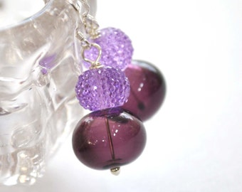 Purple Earrings, Glass Bead Earrings, Lampwork Jewelry, Plum Sugared Earrings