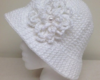 White Cotton Sun Hat Great for Cancer Patients Size Medium
