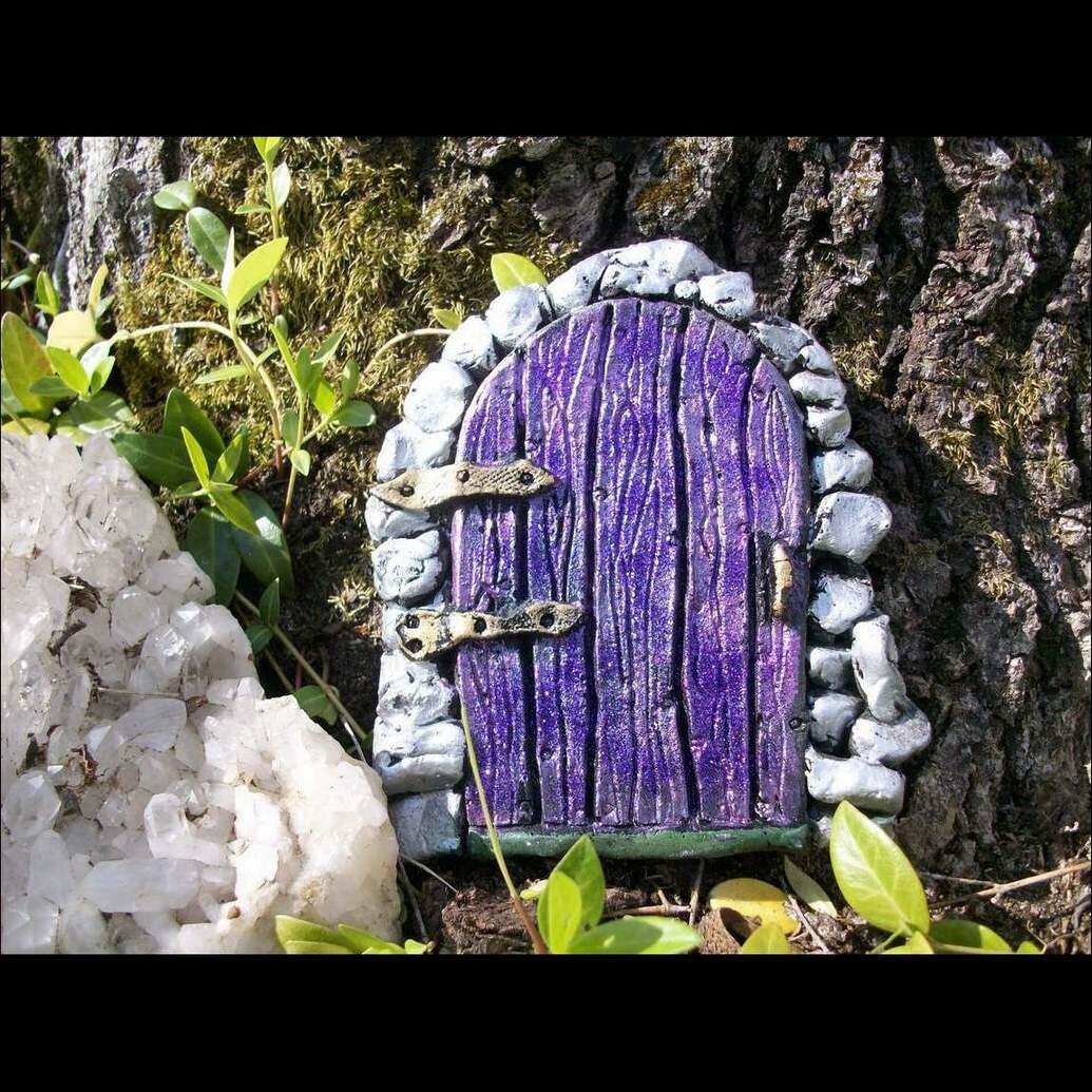 Fairy door in purple with purple glitter by reginagreenway for Purple fairy door