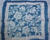 Nice Vintage Blue White Rose Floral Cotton Hankie