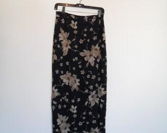 vintage 90s floral print sarong maxiskirt s-m