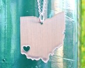 Cincinnati Ohio Love Pendant on 18inch Sterling Silver Chain