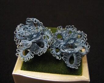 Vintage Blue Crocheted Knit Threaded Flower Screwback Earrings