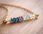 Ombre Necklace - Blue Quartz, Mystic Blue Quartz, Green Apatite - 14K Gold Filled - Gradient Necklace