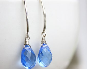 Silver Swiss Blue Quartz Gemstone Earrings - Hook Earrings - Wire Wrapped