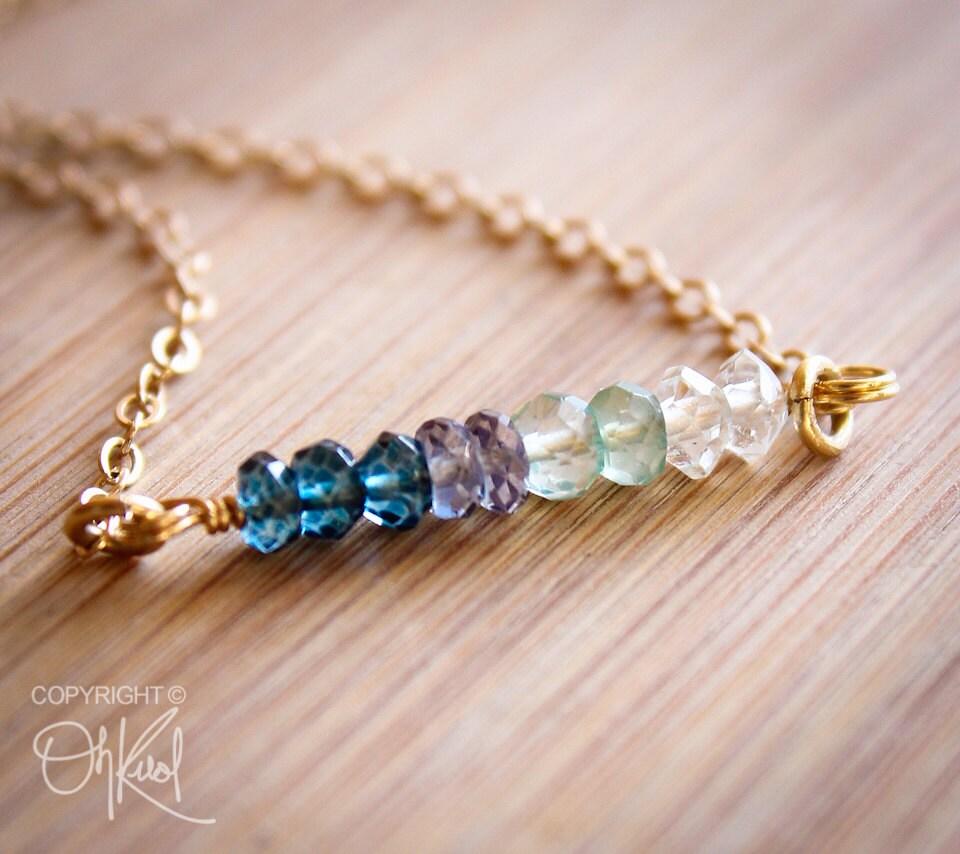 ombre necklace blue quartz mystic blue quartz green