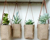 Printed Hanging Basket // Upcycled GrEEN AbBY baskets with leather strap