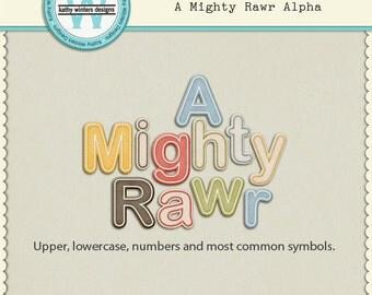 Might Rawr Alpha Digital Scrapbooking Kit