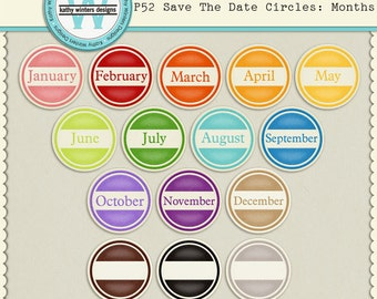 P52 Save The Date Circles: Months