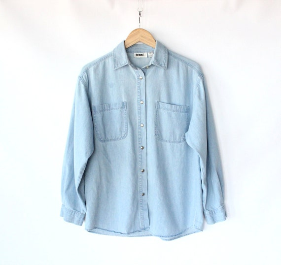 Vintage 80s Light Blue Jean Button Up Shirt // Women's