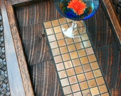 Serving Tray, Copper Mosaic Ottoman Tray, Reclaimed Wood, Rustic Contemporary, Dark Brown Finish, 13 x 24 - Handmade