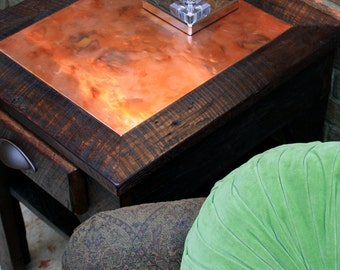 Side Table / Bedside Table, Distressed Copper Inlay, Reclaimed Wood, Dark Brown Waxed Finish - Handmade
