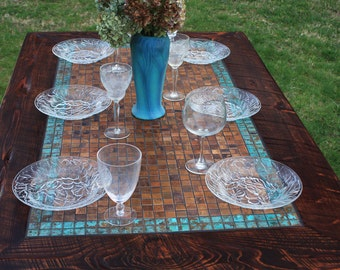 "Kitchen Table. Copper Table. Rustic Dining Table. Mosaic Dining Table. ""Aztec Blue Copper"" Mosaic. 36w x 60l x 30t. Dark Brown Finish"