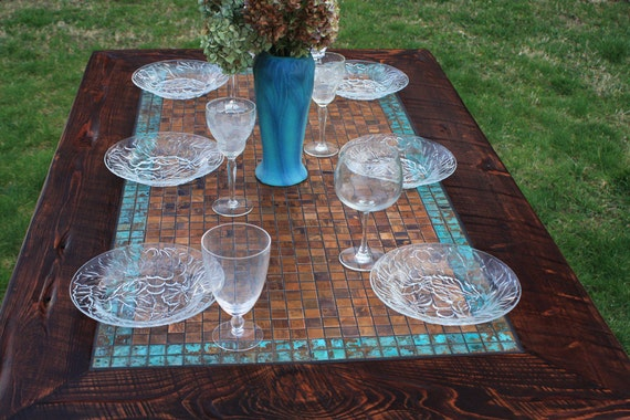farm table patinaed copper mosaic tile aztec blue reclaimed wo