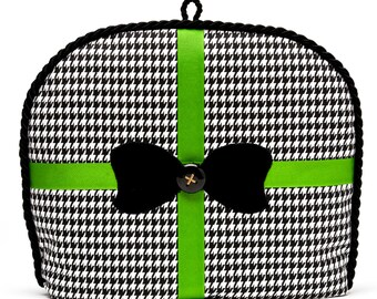 Tea Cozy/Cosy - Houndstooth w/ Black Velvet Bow Applique/ Spring Green Grosgrain Ribbon Accent and Vintage Button