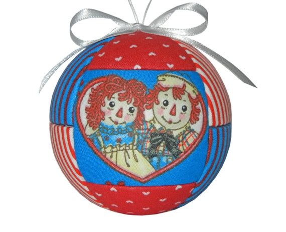 Raggedy Ann and Andy Children or Babies Red and Blue Childs Christmas Ornament by CraftCrazy4U