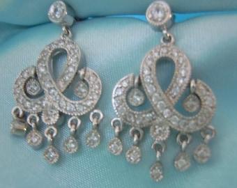 REDUCED Sterling Silver Earrings Crystal CZ .925 STERLING Silver Plated Dangle Fancy Earrings