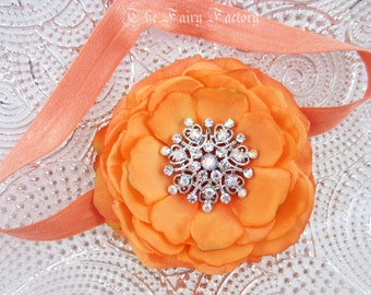 Orange Flower Headband, Lush Sherbert Orange Silk Flower w/ Jumbo Rhinestone Center Headband or Hair Clip, Baby Toddler Child Girls Headband