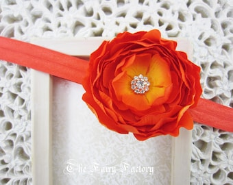 Orange Flower Headband, Petite Silk Flower w/ Crystal Center Stretchy Headband or Hair Clip, Baby Toddler Child Girls Headband