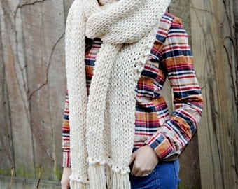 The University Scarf in Cream with Fringe - Extra Large Blanket Scarf