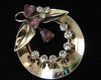 1940's Brooch, Triangle Shaped Purple Rhinestones