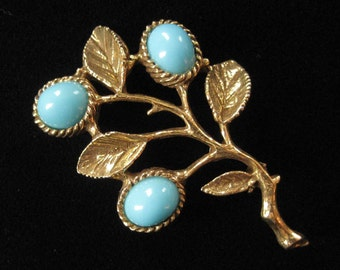 Gorgeous Antiqued Gold Brooch with Faux Turquoise Lucite
