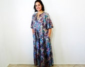 Plus size Caftan Dress Robe Vintage 80s Abstract Print 2X Oversized Maternity Maxi Dress