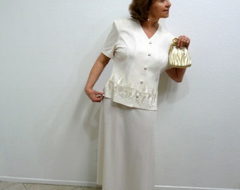 Vintage 80s Women Suit Cream White,  2 Piece Set Jacket and Skirt Lace Embroidered Wedding XL