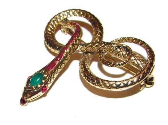 Brooch: Large Egyptian Revival Coiled Snake Serpent Poured Glass Jewels Enamel Vintage 1950s