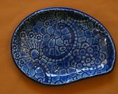 Blue, decorative, ceramic tray