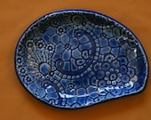 Blue, decorative, ceramic tray